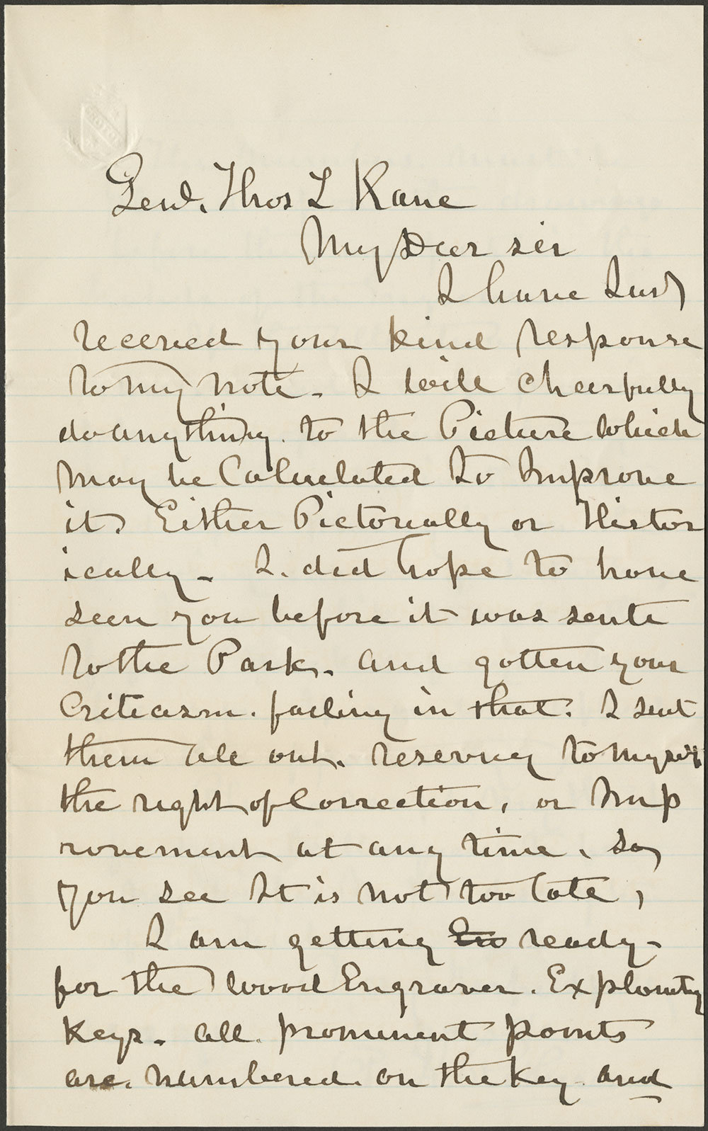 Peter F. Rothermel to General Thomas L. Kane. 12 February, 1874 (Vault MSS 792, Box 24, Folder 4, Item 3)