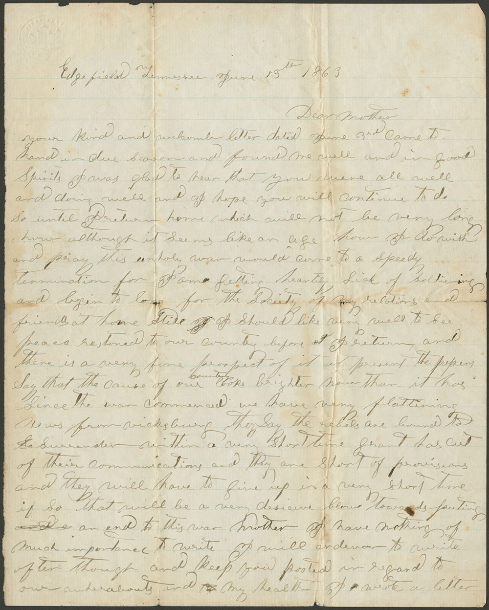Don Carlos Salisbury to Katherine Smith Salisbury, 13 June, 1863