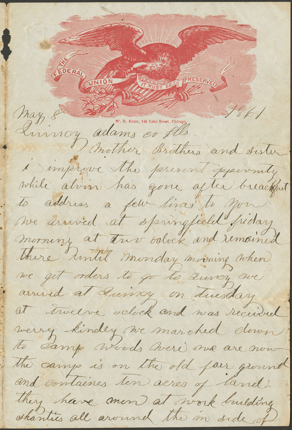 Don Carlos Salisbury letter, 8 May, 1861