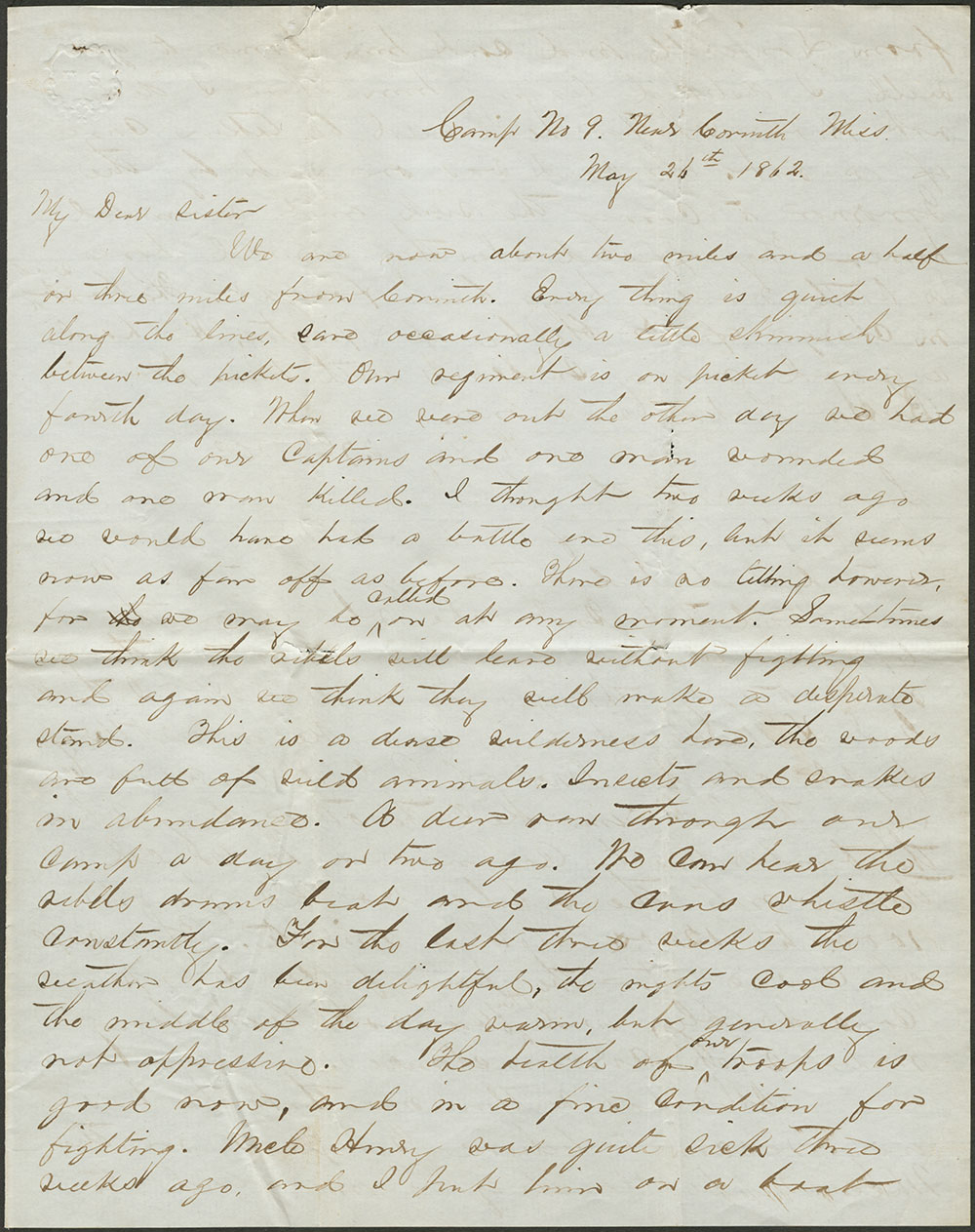 Philemon Burgess Hunt to Mary D. Craig. 24 May, 1862 (MSS 7809)