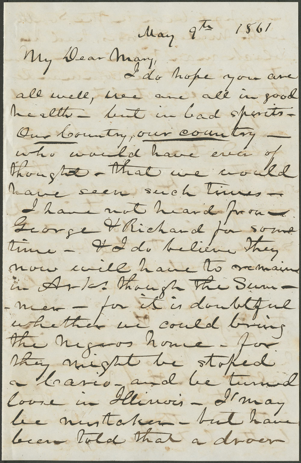 Gavan Drummond Hunt to Mary D. Craig 9 May, 1861 (MSS 7809)