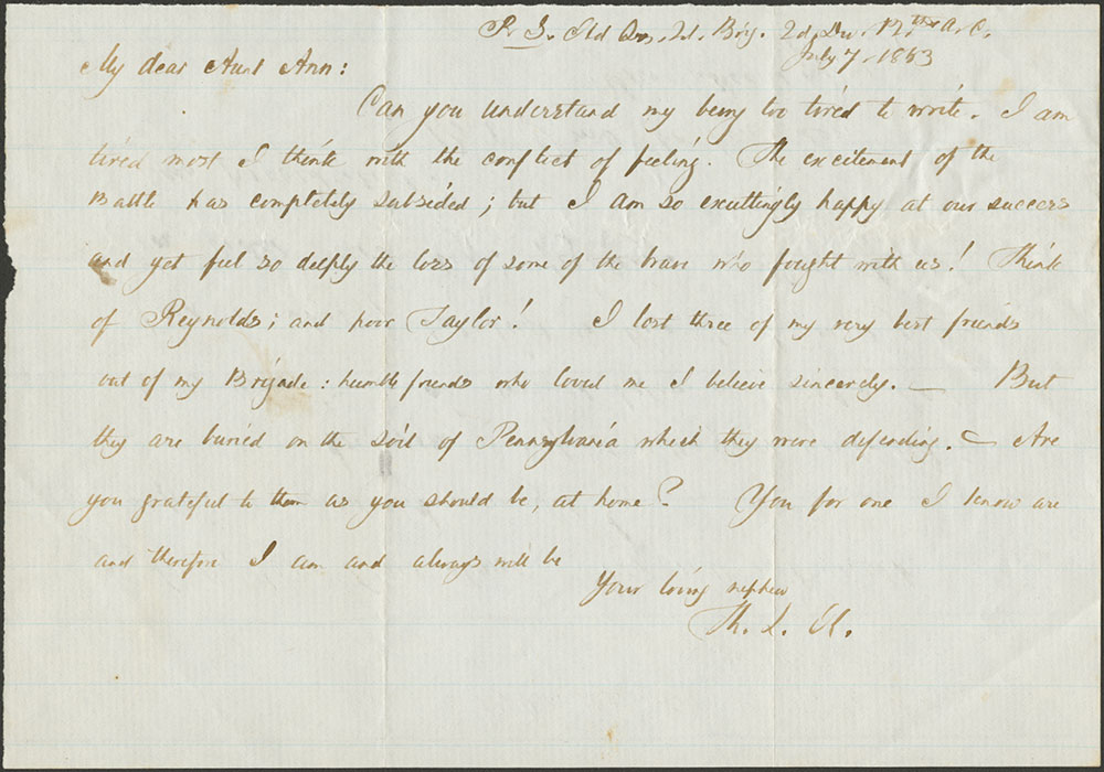 Thomas L. Kane to Aunt Ann. 7 July, 1863
