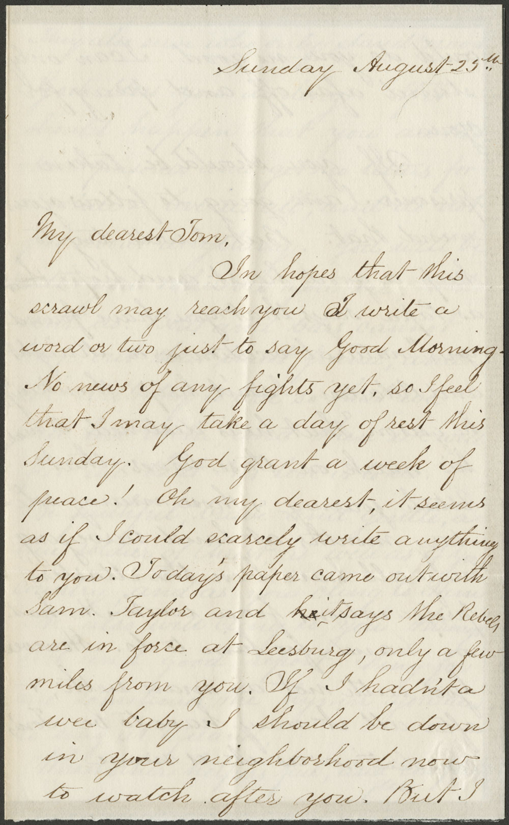 Elizabeth Kane to Thomas L. Kane. 25 August, 1861 (Vault MSS 792, Box 21, Folder 1, Item 52)