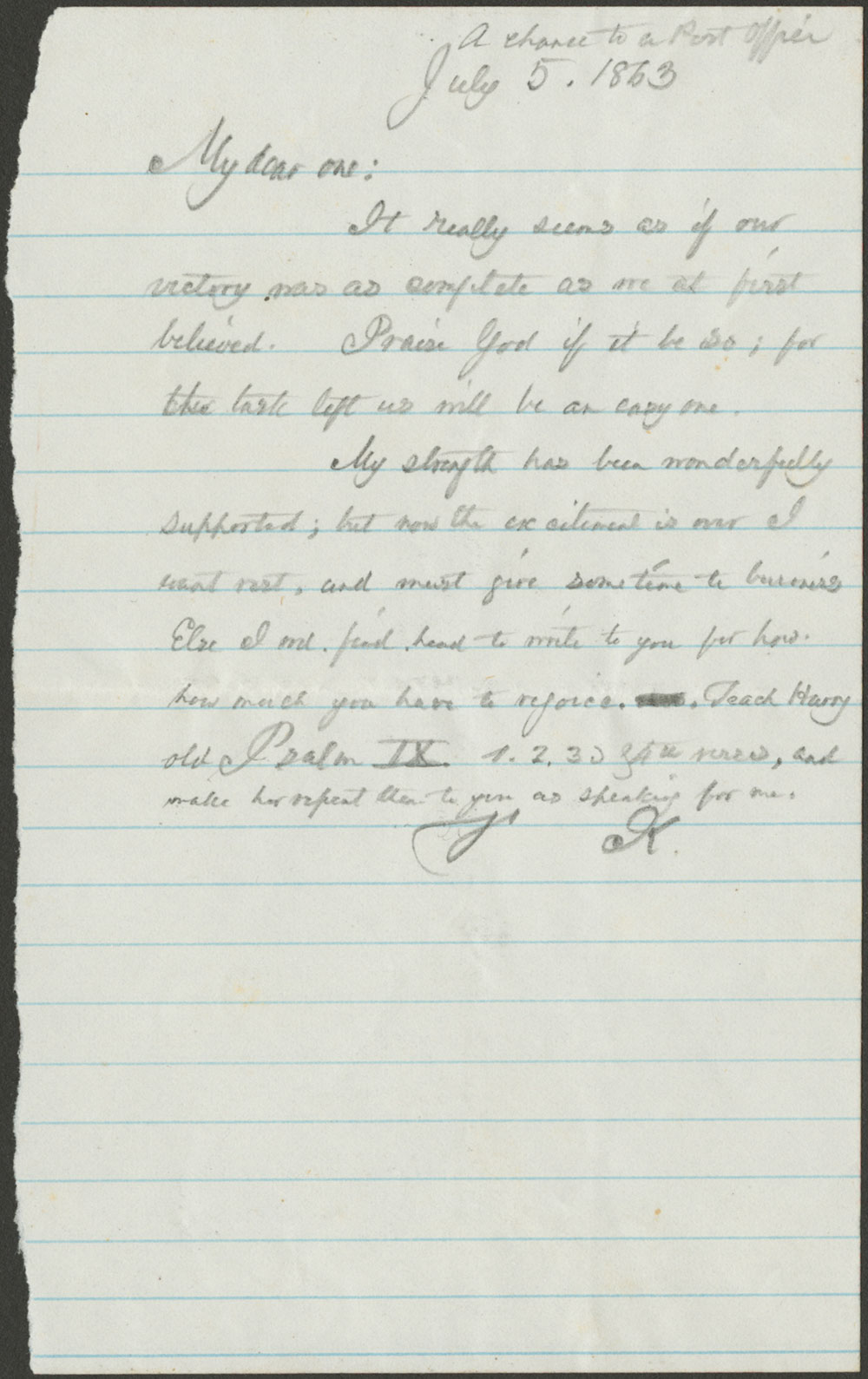 Thomas L. Kane to Elizabeth Kane. 5 July, 1863 (Vault MSS 792, Box 22, Folder 2, Item 78)