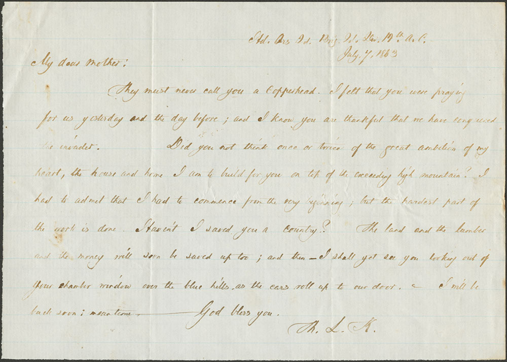 Thomas L. Kane to Jane Duval Leiper [his mother]. 7 July, 1863