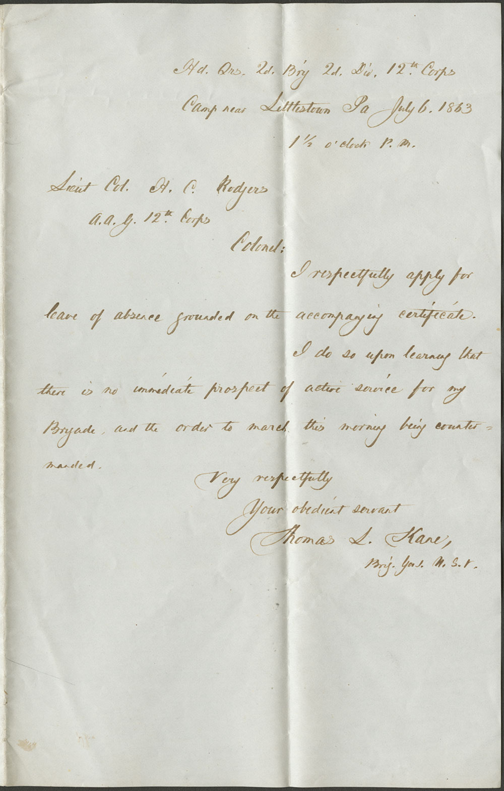 General Thomas L. Kane to Lt. Col. H.C. Rodgers [with a forwarding recommendation from J.L. Dunn]. 6 July, 1863 (Vault MSS 792, Box 23, Folder 6, Item 31)