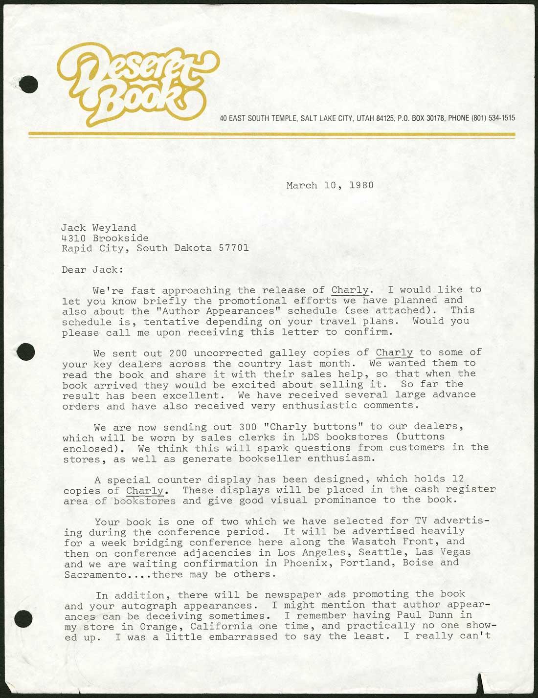 literary worlds > jack weyland letter from deseret book to jack weyland 10 1980