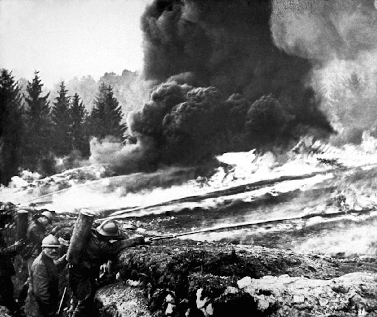 Flamethrowers being used from trenches during World War I