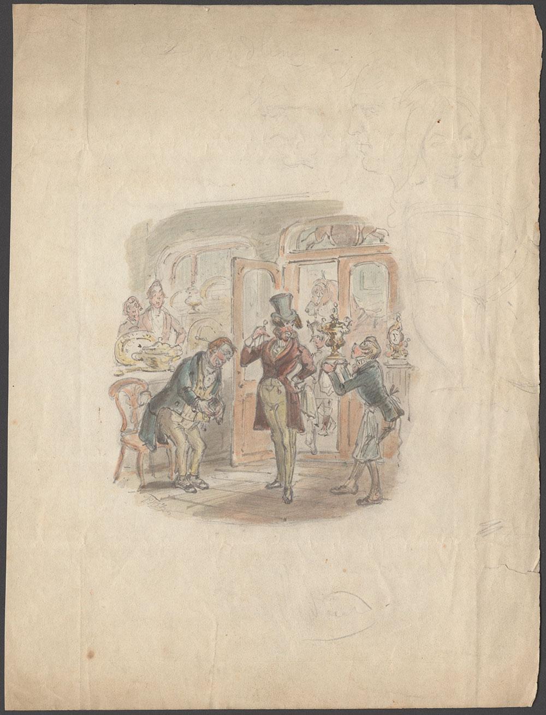 H. K. Browne (Phiz). Watercolor drawing for Douglas William Jerrold's The Handbook of Swindling.