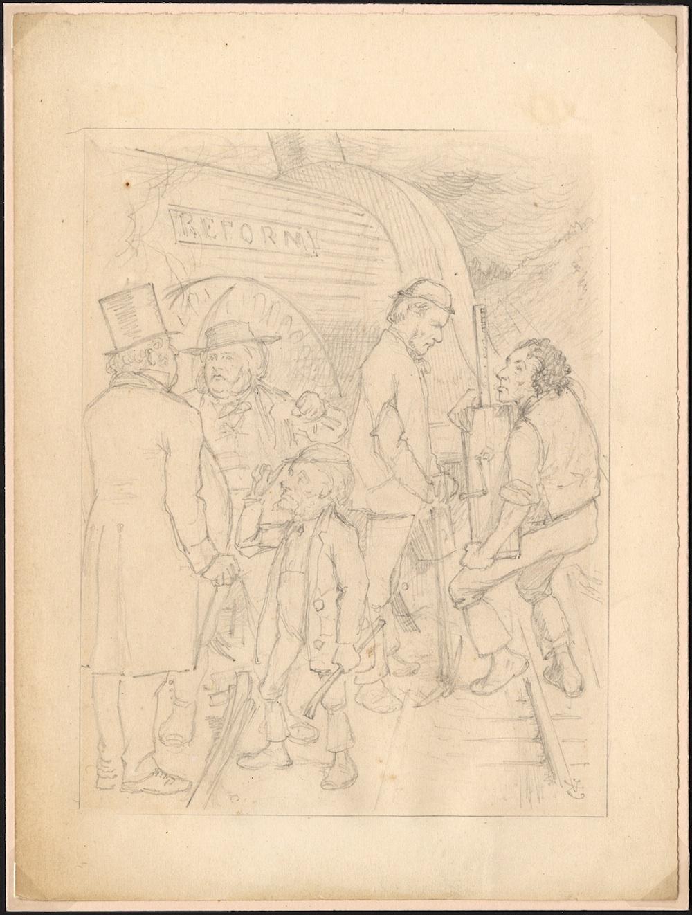 "Sir John Tenniel. Original pencil drawing for <i>Punch</i>: ""A Block on the Line."""
