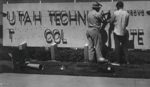 UVU Sign being installed