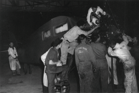 UVU Students installing airplane engine