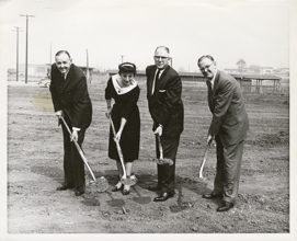 Rose Marie and three other church leaders breaking ground for a church building