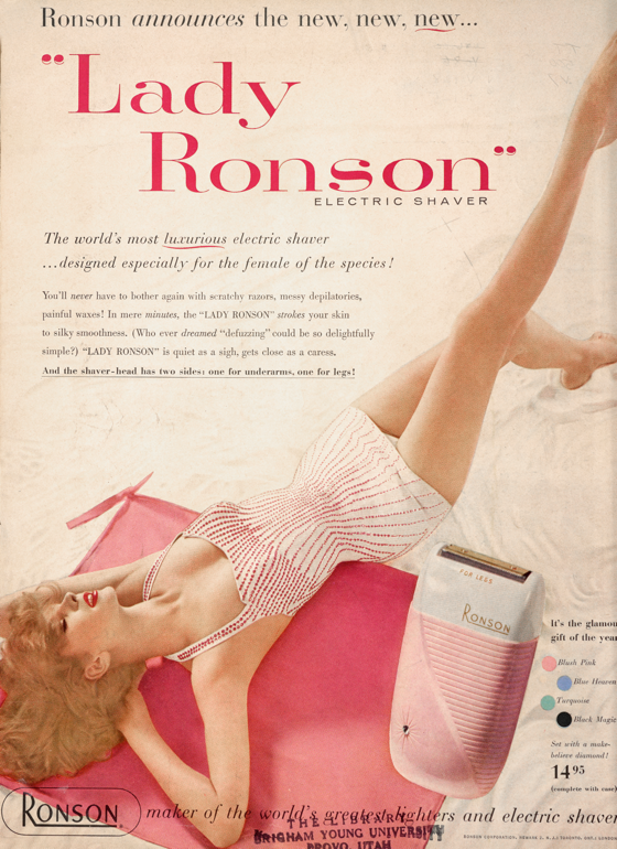 2312dabf0f082 Lady Ronson Electric Shaver advertisement from the July 1956 Vogue magazine  featuring the Rose Marie Reid