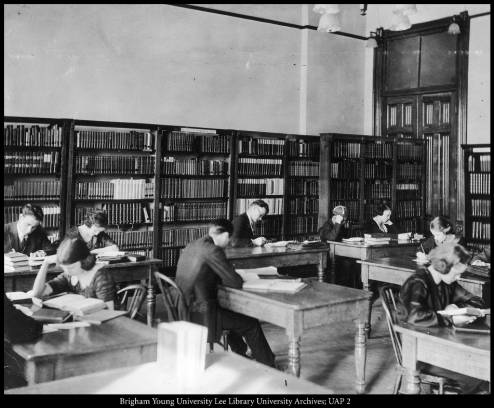 Library in the High School (Education) Building, ca. 1913